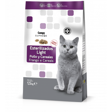 Compy Supreme Gatos Esterilizados-Light Rico en Pollo fresco y Cereales integrales