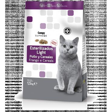Compy Supreme Gatos Esterilizados-Light Rico em Frango fresco e Cerais integrales